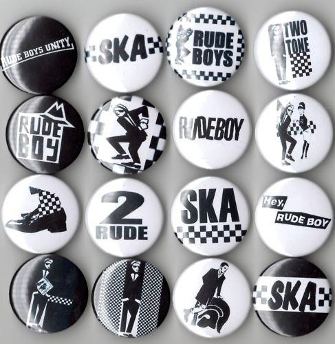 Ska, 2 tone, and trojan pins. I want them all.