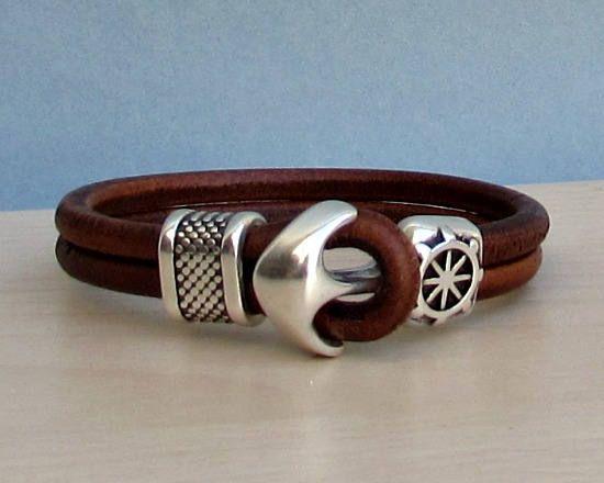 Anker Armband Herren Leder Armband Manschette nautischen