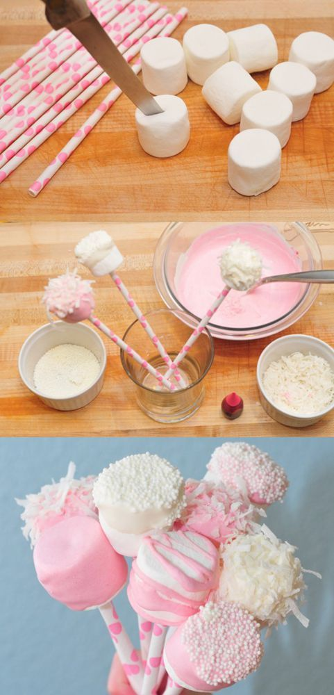 Not sure how many man would like marshmallow on stick unless he is five years old; however, this would be a great DIY for young boys to make for his class mates for Valentine's Day. (3)
