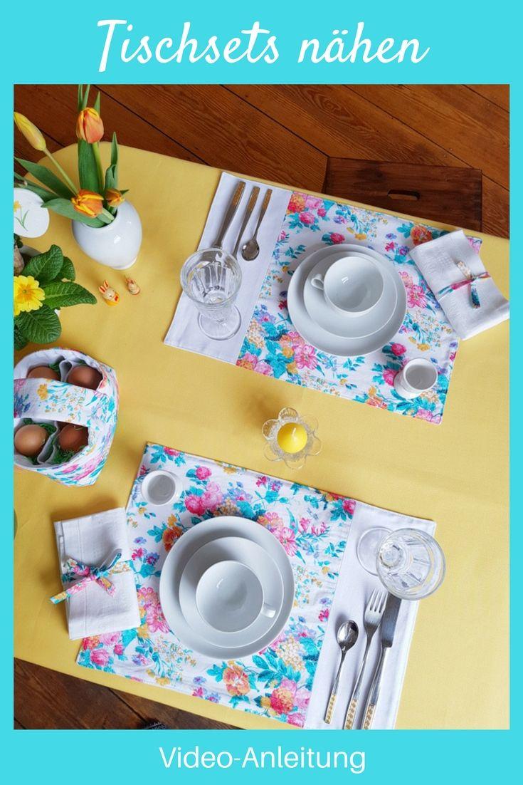 Tischsets nähen einfach schnell Video Anleitung DIY Tischdeko Idee Nähidee fü…