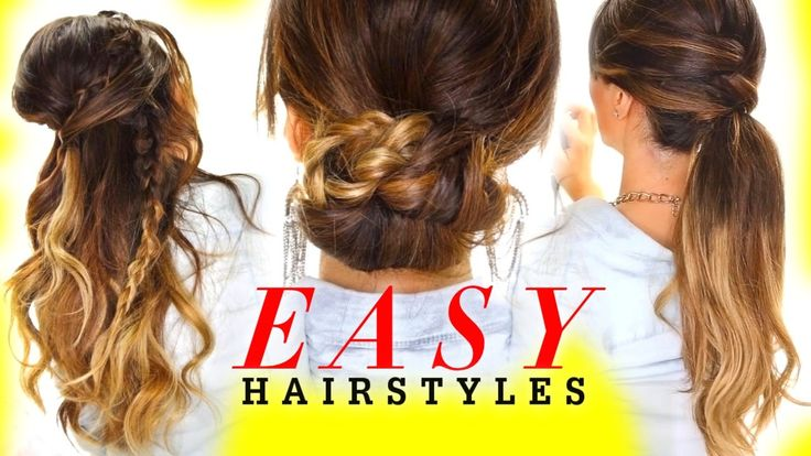 4 Easy Lazy #Hairstyles for Greasy Hair | braids and half-up updos