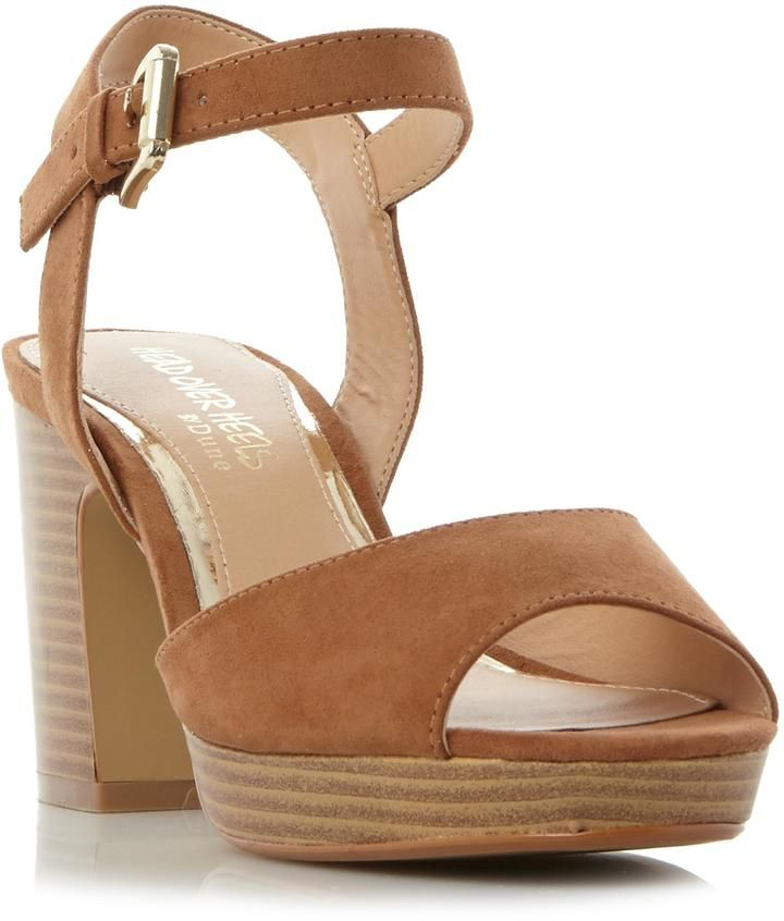15f2f8d36cb1a2 Head Over Heels by Dune JEWEL - TAN Two Part Stacked Heel Sandal
