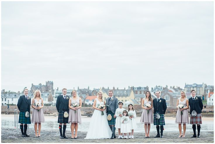 Elie wedding, Scotland. Bridal party portrait