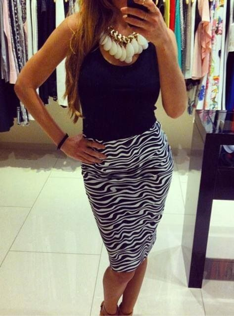Pencil Skirt in black&white