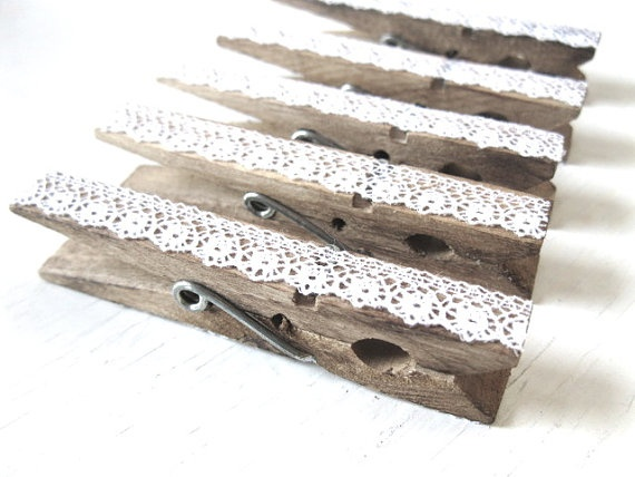 {Vintage Lace Clothespins - This will be a DIY project for me! Great idea for hanging decoratives for parties showers}