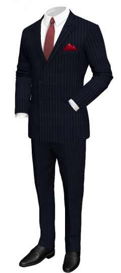 Dark blue pinstriped suit in wool: Peack lapel Double welt pockets Side vents 2 Buttoned welt pockets on the seat Red square pocket  http://www.tailor4less.com/en/collections/custom-suit/premium-suits-collection/dark-blue-pinstriped-suit-in-wool
