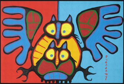 Owl Family by Norval Morrisseau   Native Canadian Artist