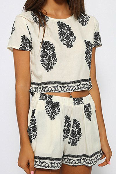 Stylish Jewel Neck Short Sleeve Print Suit For Women