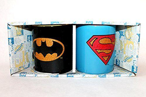 Dc Comics Superman Batman Glitter Mug Set These mugs have Batman and Superman logos in glitter.  Put some sparkle in your coffee break.