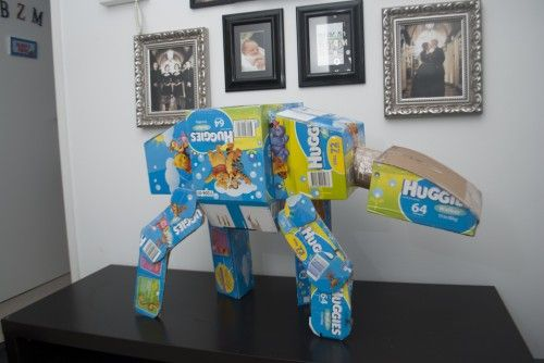 You could recycle those leftover diaper boxes… or you could make your own AT-AT out of them | Offbeat Mama: Diaper Boxes, Idea, Stuff, Diapers, Stars, Star Wars, Things, Starwars