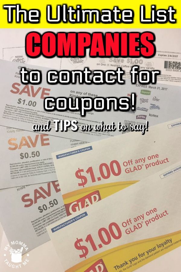 Master List Of Companies To Contact For Coupons Coupons Extreme Couponing Financial Advice