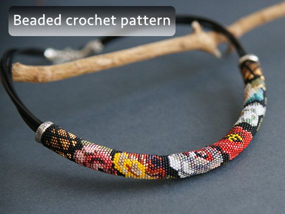 Bead crochet pattern, russian folk necklace pattern, flowers beaded crochet tutorial