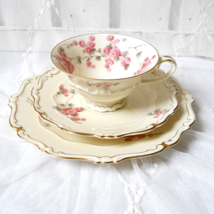 reserved for alessandra 5 vintage tea cup trio sets german porcelain teacups shabby chic. Black Bedroom Furniture Sets. Home Design Ideas