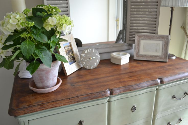 Originally black and gold drawers, now French country chic.