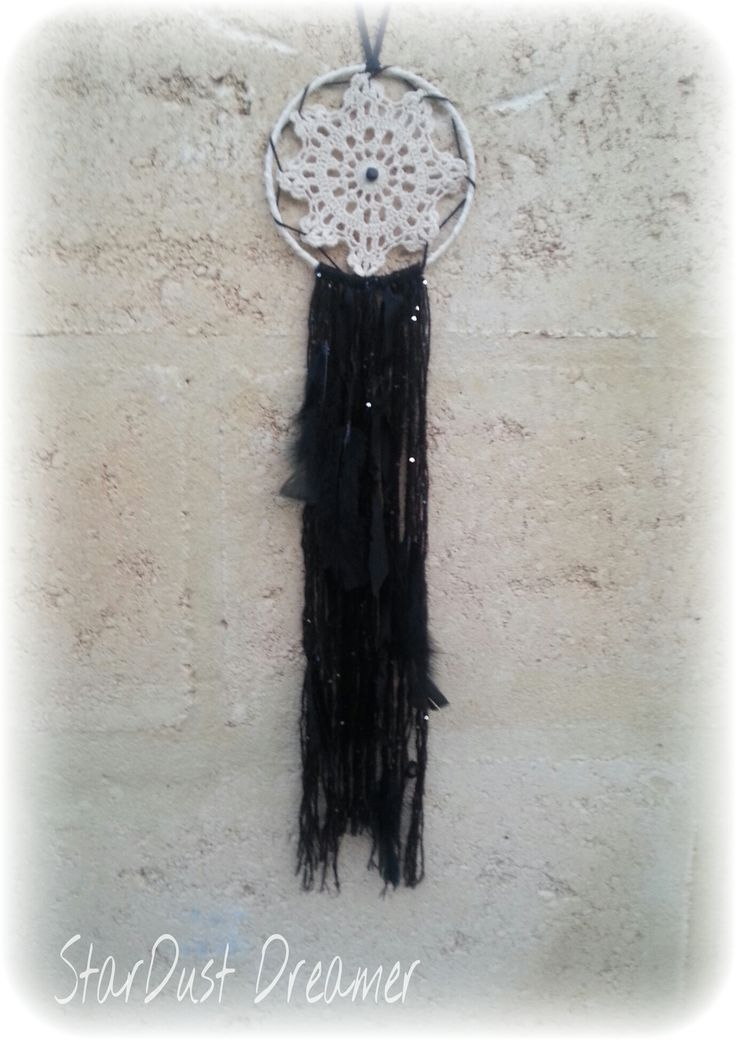 Midnight Dreamer Gorgeous Beige Doily with meters of jet black sparkly sequined wool and lush black feathers. Simple, vintage and Dark, finished with a obsidian bead center piece for protection. http://stardustdreamer.com.au/shop/dreamcatchers/midnight-dreamer/