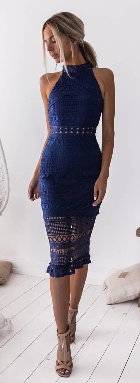 #winter #outfits blue lace halter mini dress and pair of t-strap heeled sandals
