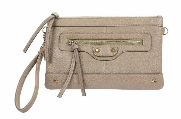 Everyday Clutch Purse Beige A take everywhere clutch purse with the versatility of having both a wristlet and detachable shoulder strap. Convenient interior pockets and stud and stitching exterior detail making it fashionable as well as practical.