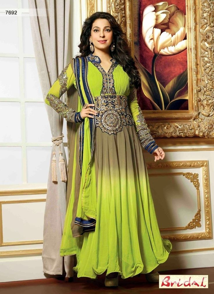 Captivating Juhi Chawala Grey Designer Salwar