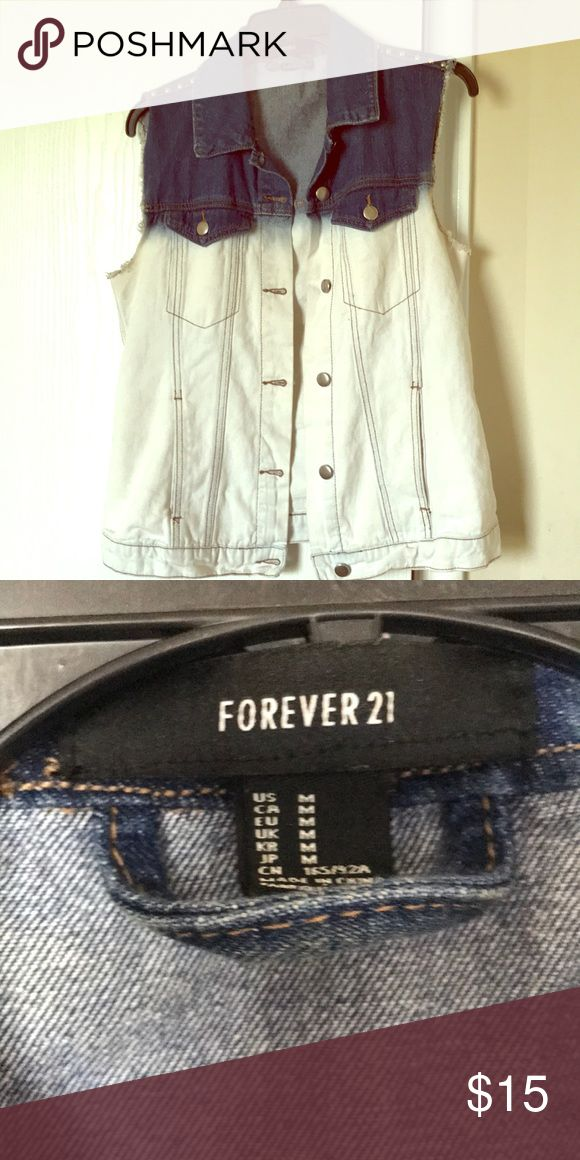 Sleeveless jean jacket Jean faded/ bleached jacket sleeveless  Only worn once !! Forever 21 Jackets & Coats Jean Jackets