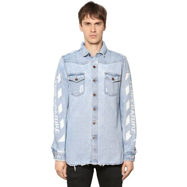Off White Men Temperature Painted Cotton Denim Shirt ($665) ❤ liked on Polyvore featuring men's fashion, men's clothing, men's shirts, men's casual shirts, light blue, mens collared shirt, mens ripped shirts, mens light blue dress shirt and mens distressed shirt