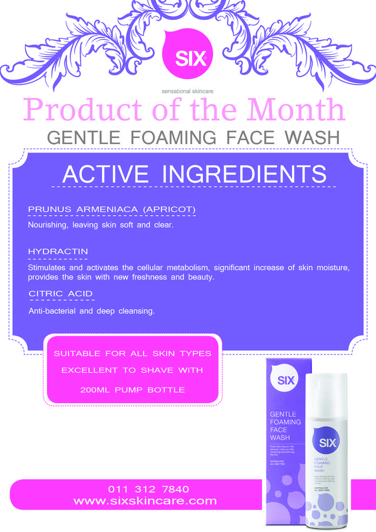 PRODUCT OF THE MONTH Gentle foaming face wash  A beautiful gel wash with a subtle sent of Vanilla & Magnolia.  Hydractin a key formulation that is designed to replenish the water in the skin  leaves dry & oily skin with a refreshing drink of water Apricot oil – instantly clears the skin – this amazing ingredient will clear up the skin in moments. Citric acid – works hard on the skin to kill bacteria that cause spots and black heads. Leaving the skin fresh and clean.
