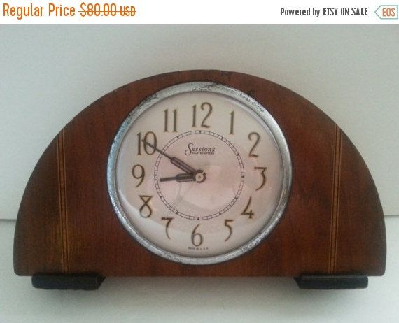 Now On Sale Vintage Sessions Clock ** Self Starting Art Deco Antique Mantle Clock ** 1930's Man Cave Library Vintage Home Decor