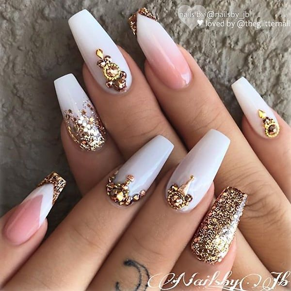 ✨ White Glitter Ombre on long Coffin Nails ✨•💅 Nail Artis