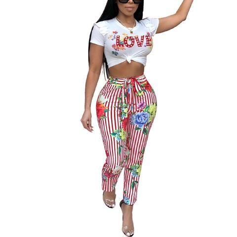 36e913700f1 2018 New Arrival Summer Two Piece Set Women Fashion LVOE Print Elegant  O-Neck Lace-up 2 Piece Set Sexy Slim Plus Size Women Suit