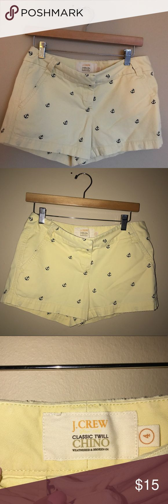 J Crew classic chino weather yellow anchor shorts J Crew classic chino weather yellow anchor shorts. Classic 12 weathered size for chino shorts from J.Crew. Excellent condition with anchor detail in one sleep back pocket look.  Perfect for boating, we can wear or casual date night. I love reasonable offers, bundle and save! I ship same or next day from Ohio 💌 J. Crew Shorts