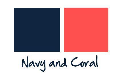 Paleta de Cores - Azul Marinho + Coral - Fica, vai ter bolo! Assessoria de EventosFica, vai ter bolo! Assessoria de Eventos