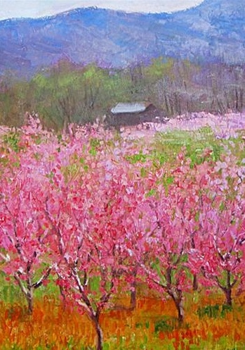 This is by Julia Lesichy.  It reminds me of the farm where I grew up in Michigan.  We had an apple orchard with many varieties, but no mountains. The mountains make me think of Idaho where I lived for over 20 years.