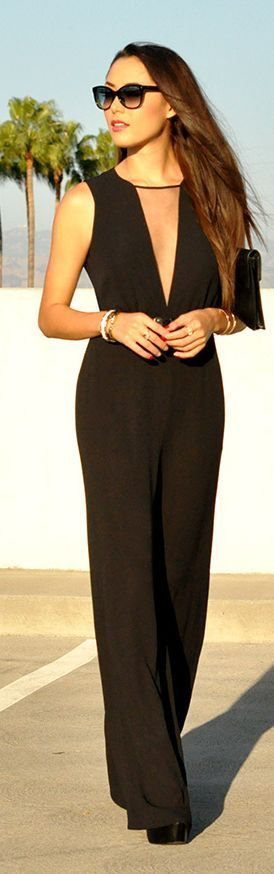 Daily New Fashion : Black V-Neck Jumpsuit by Hapa Time