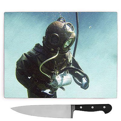 #Large glass chopping #board worktop #saver vintage scuba diving,  View more on the LINK: 	http://www.zeppy.io/product/gb/2/182339586973/