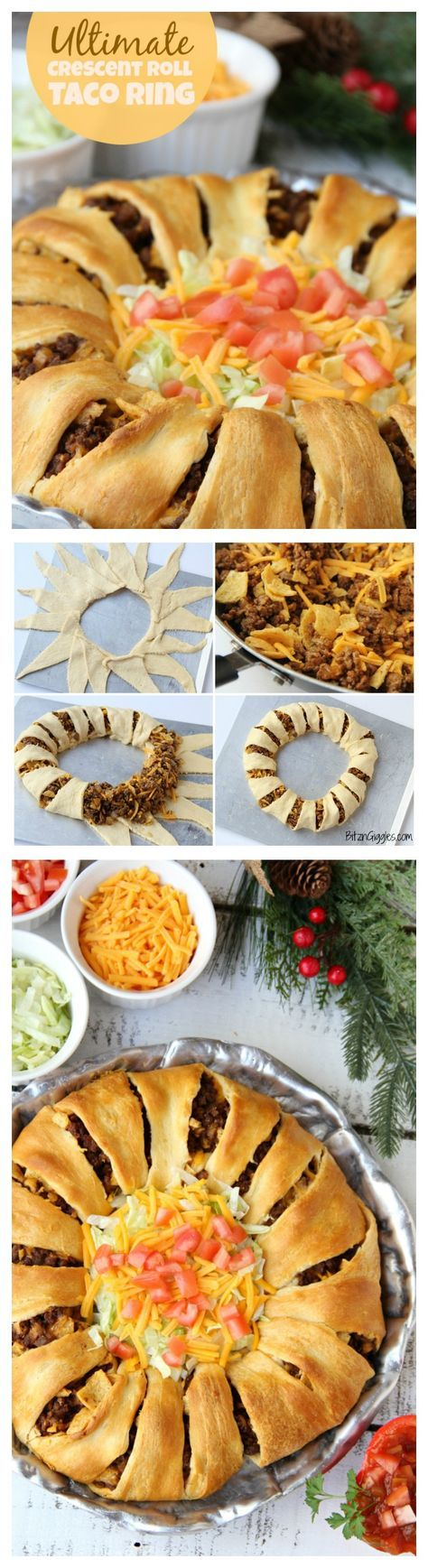 Ultimate Crescent Roll Taco Ring - This isn't just any old taco ring, it's filled with corn chips, guacamole, sour cream, cheese and tomatoes - easy and delicious, ready to serve a crowd! #ItsBakingSeason