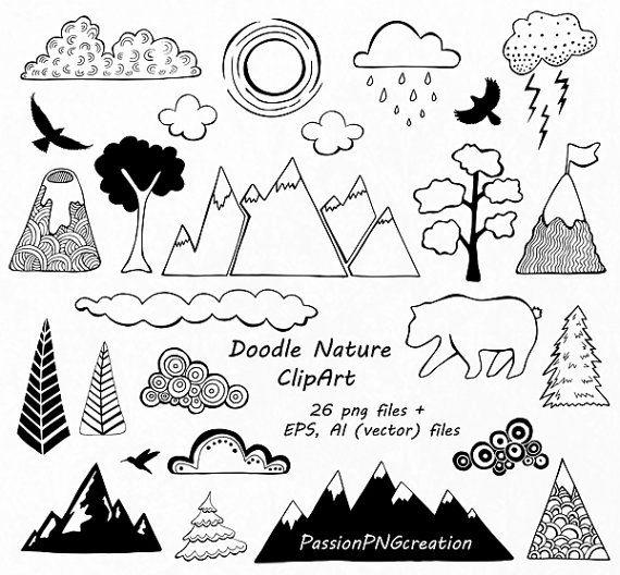 Nubes de Clipart de naturaleza, mano dibujado montaña Clipart, Doodle clip art, PNG, EPS, AI, vectores, para el Personal y el uso comercial