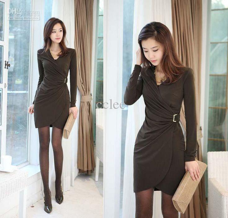Wholesale Hot new dress newest women dress long sleeve dress sexy dress skinny waist S/M/L/XL F0216, Free shipping, $14.42-18.73/Piece | DHgate