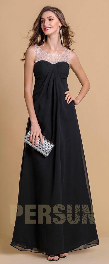 5a9c2200906 robe empire mariage longue encolure transparente orné de strass ...