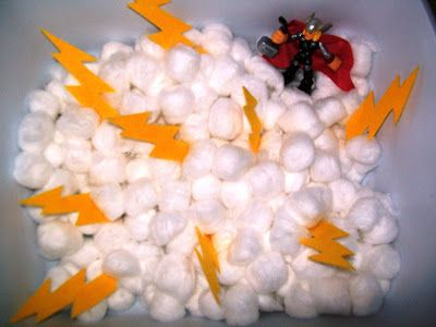 Create a superhero sensory bin for your preschooler to have some hands on sensory time.