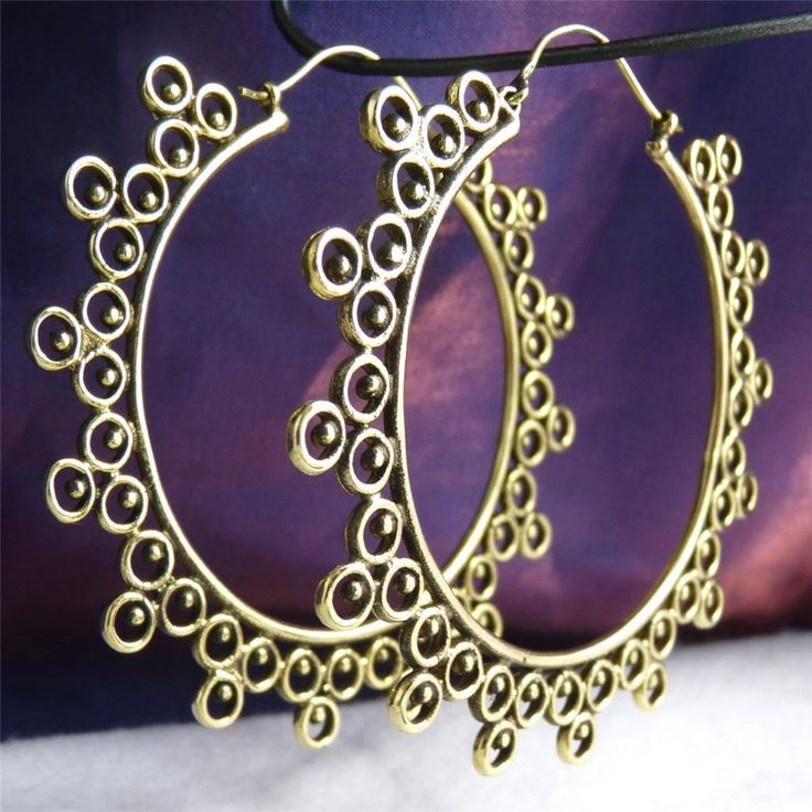 BRASS * SilverSari  XL Laced Creole  Hoop Earrings * Design #8