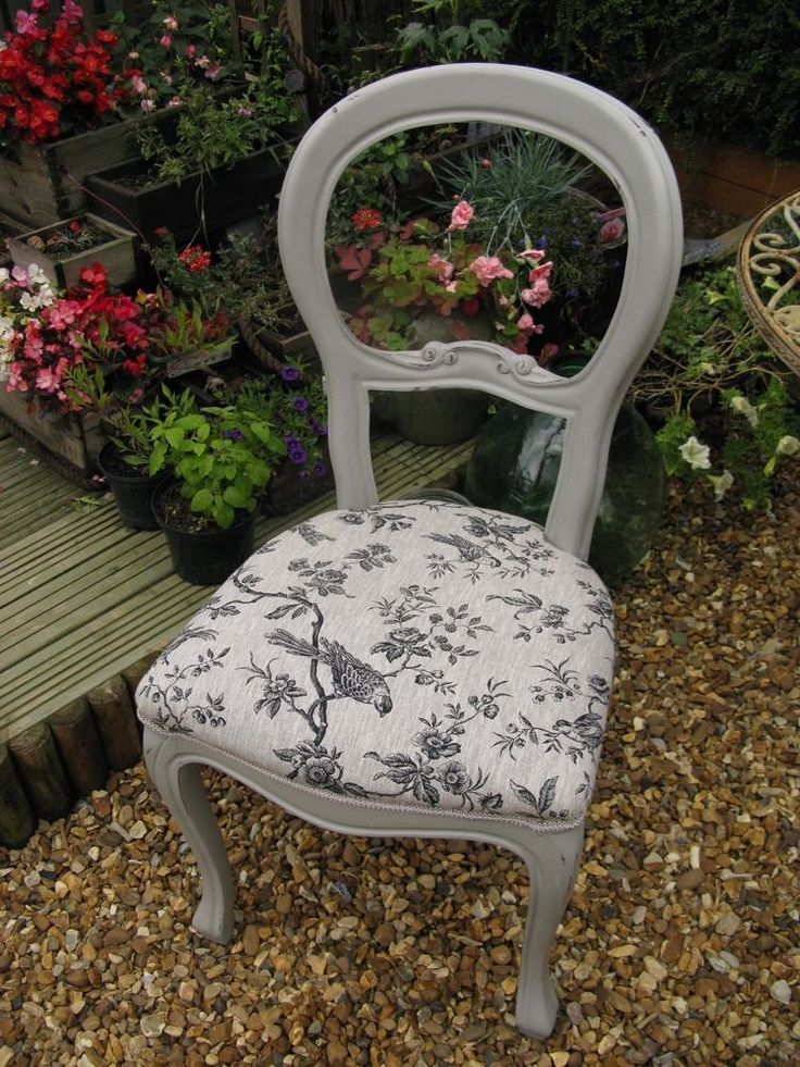 Shabby Chic French balloon back Bedroom Dining Chair Annie Sloan- paris grey