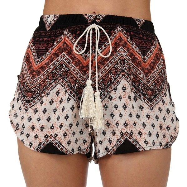 Black Festival Ready Boho Shorts ($25) ❤ liked on Polyvore featuring shorts, bottoms and boho shorts