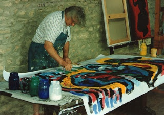 Karel Appel painting in his atelier
