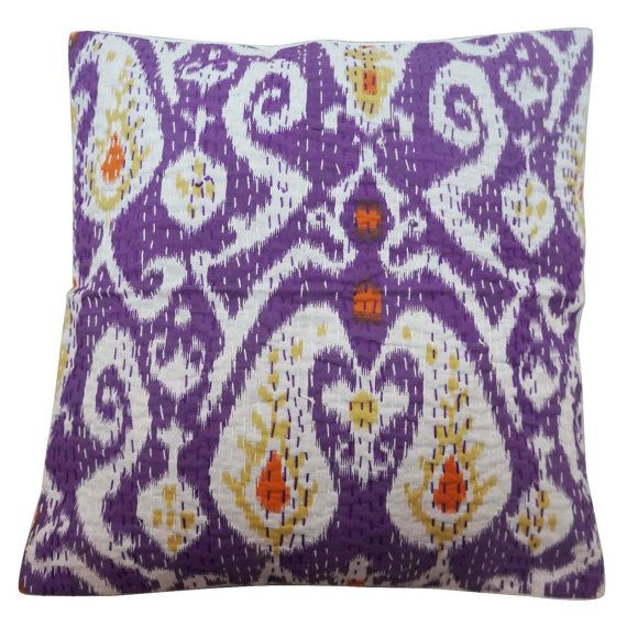"""16"""" X 16"""" Decorative Cotton Pillow Cover Printed Pattern Traditional Pillow Case Indian Purple Cushion Cover PL16979"""