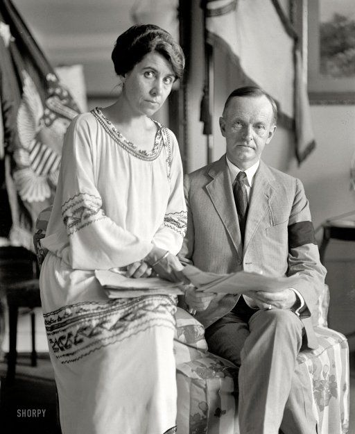 August 4, 1923. Washington, D.C. Coolidge and wife. Grace and Calvin Coolidge (wearing a mourning band), two days after his ascension to the presidency following the death of Warren Harding. National Photo Co