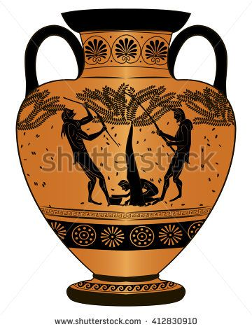 Vase ancient Greece. Harvest.