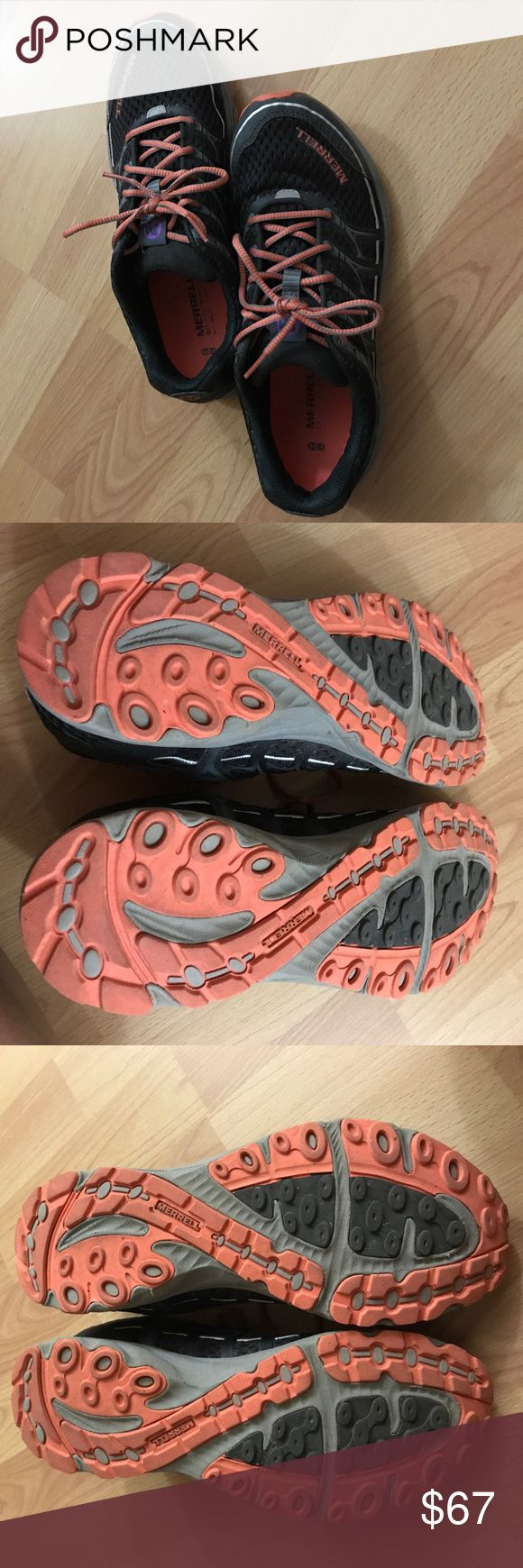 Merrell Minimalist Trail Running Shoes Black, gray, orange, silver, and purple colors.  Minimalist trail running shoes.  These still have a lot of life left.  They can be cleaned up.  Great shoe, I just decided I needed a little more padding.  Does have a loose thread where the shoes lace through on top of the tongue, but doesn't affect the function of the shoe.    Please see pics.  I would love for someone to give them a new home. Merrell Shoes Athletic Shoes