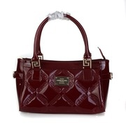 Versace Quilted Greek Key Patent Leather Tote - Burgundy
