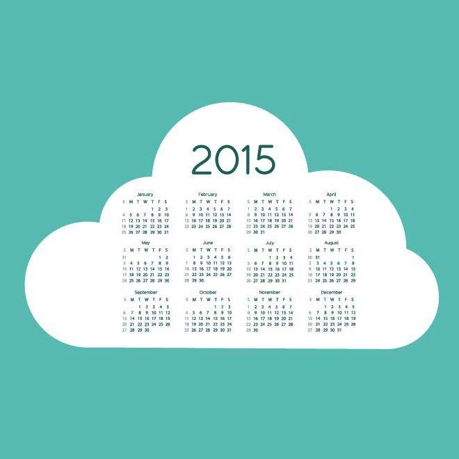 Biru Kehijauan Cloud background Vector Kalender 2015 Desain Unik Jpg Cetak Template Download