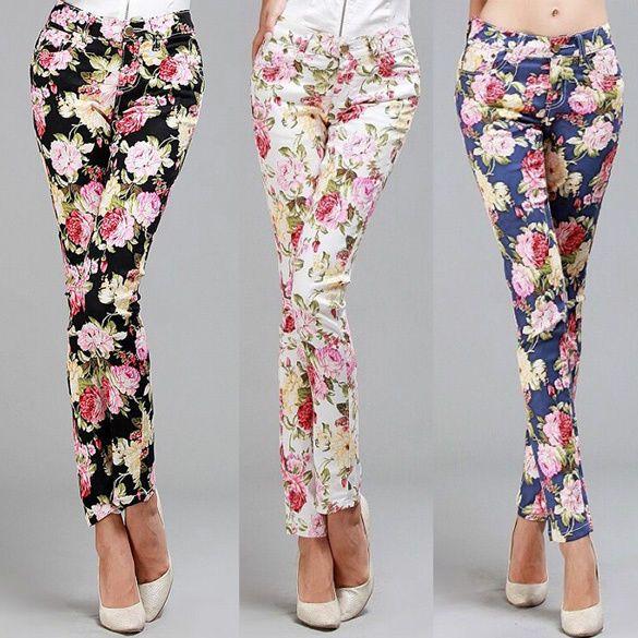 Pantaloni donna con stampe floreali, slim