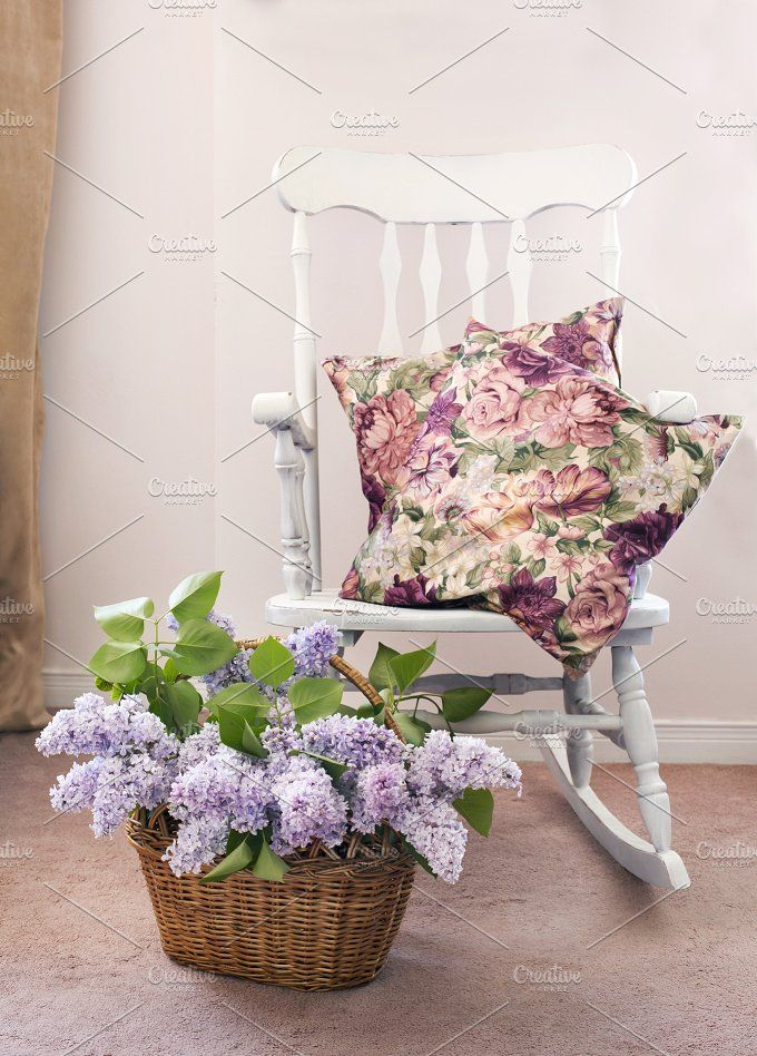 Vintage chair with bouquet of lilac by anjelagr on @creativemarket